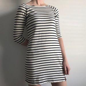 Reitmans White and Navy Striped 3/4 Sleeve Dress